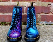 SUMMER SALE! Galaxy Cosmic Gothic Print Doc Dr Martens. Hand Painted . Made to order. Any size