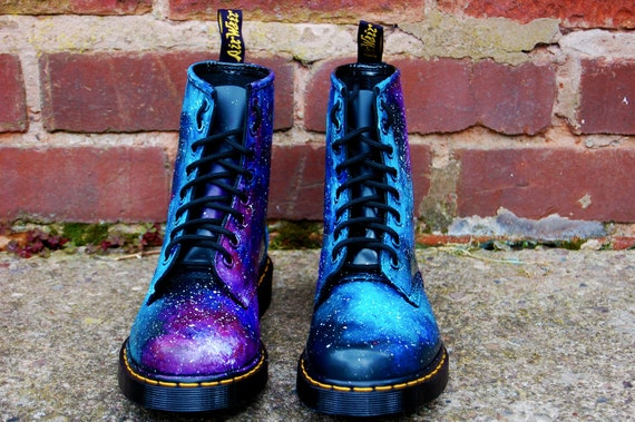 SUMMER SALE! Festival Essential Galaxy Cosmic Gothic Print Doc Dr Martens. Hand Painted . Made to order. Any size