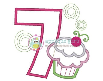 Cupcake Party Seven -- Birthday Applique Machine Embroidery Design