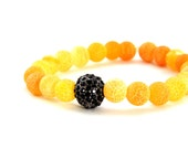 Frosted Sunset Orange Agate Bracelet with Black Crystal Pave Accent Bead