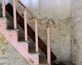 Stairway in Pink, weathered, peeling paint, stairs, old house, stone, wood, abandoned, texture, architecture, Lesvos Greece