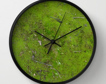 Moss wall clock, woodland, twigs, mossy, nature, texture, forest, velvet, soft, chartreuse green, Lesvos Greece