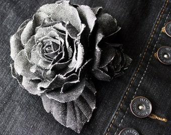 Black denim roses brooch