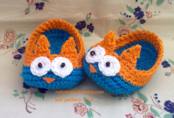 Baby Owl Booties Crochet Pattern Free : Crochet Baby Slippers/Booties with owl pattern pdf 14