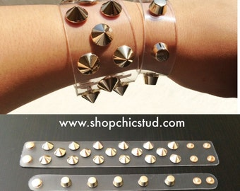 Studded Clear Cuffs - Transparent Clear - Studded Bracelet - 2 Styles - Gold Spikes - Gold Studs