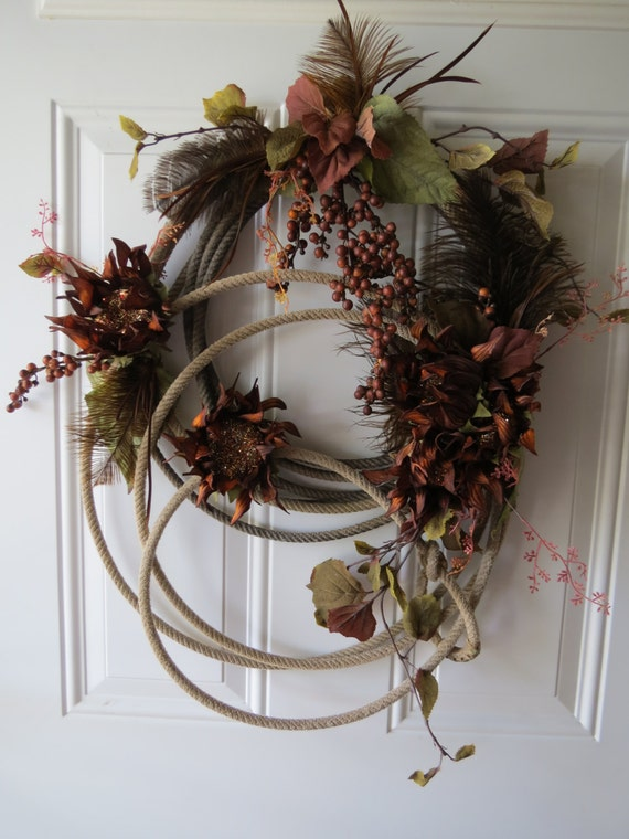 Rustic Cowboy Lasso Rope Wreath W Blinged Out