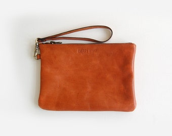 Cognac Charlie Bag (small) - Handmade Leather Clutch