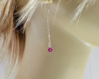 Fuscia pink crystal chain dangle earrings on silver filled half hoop ear wires