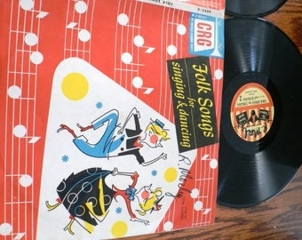 vintage retro rage ... FOLK SONGS for Singing DANCING  Record from Childrens Record Guild series ...