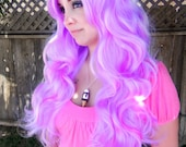 Light Purple and Pink / Long Curly Layered Wig Mermaid Hair Lolita Natural Scalp Piece