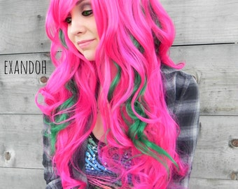 Watermelon / Hot Pink Green / Long Curly Layered Wig Full Thick Bouncy Durable for Daily Use, Halloween Costumes