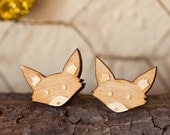 Fox Post Earrings Lasercut Birch Wood - Tokala - Woodland Creature Jewelry