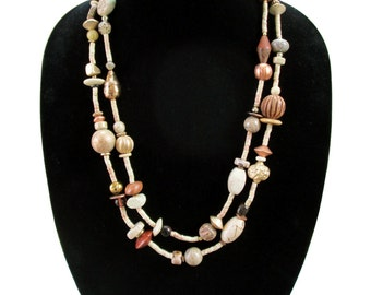 Vintage beaded necklace, 2 tiered wooden beaded necklace, boho, gypsy, hippie, eco chic jewelry