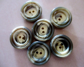 6 Vintage 25 mm Large Big Greyish Green with Cream Marbled Design 2 Hole Plastic Button