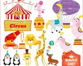 Buy 2 Get 2 Free ---- Circus Clip Art Set 2, Carnival, Birthday, Invitations Cards Making, Personal and Small Commercial Use ---- BB 0469