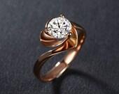 Engagement Ring -  1 Carat Diamond Engagement Ring In 14K Rose Gold