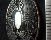 Large Viking Griffin Oval Pewter Broach
