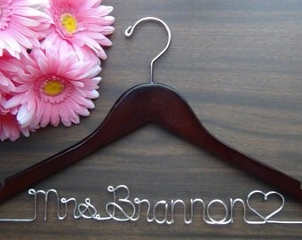 BRIDAL WEDDING HANGERS Custom Made with Names, Personalized Keepsake Hanger, Best Clothes Hangers, Wedding Photo Props