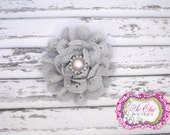 Grey Eyelet Flower Headband or Clip - Newborn - Infant - Baby Girl - Toddler - Photo Prop - ThruLookingGlassBow