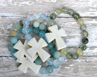 Cross Beaded Gemstone Bracelets by BeadRustic Free Shipping until 4/15/2015