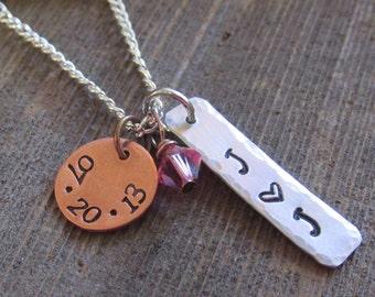 Personalized Wedding Anniversary Birthdate Hand Stamped Necklace Swarovski Crystal Date Stamped round disk