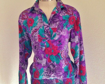vintage hipster purple floral blouse, hipster blouse, 80s, 90s, womens clothing, hipster fashion