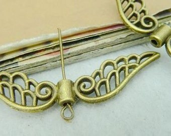 10PCS antique bronze 14×52mm wing spacers bead charm connector- WC3163