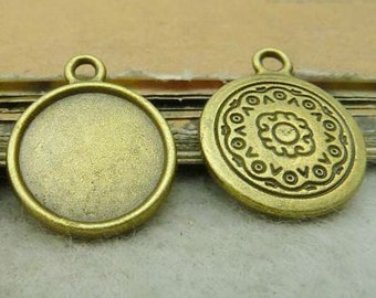 20PCS antique bronze 14mm round flowers pattern bezel cup cabochon mountings pendant tray- WC5081