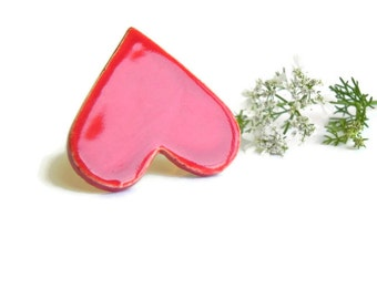 Valentine's Day Ceramic Heart Ring, Oversized Cocktail Ring, Red Adjustable Ring, Pottery Jewelry