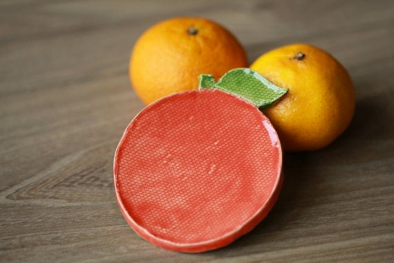 Ceramic Orange Dish Eco Friendly Plate Round Spoon Rest in Recycled Paper Box