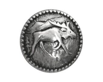 6 Moosey 5/8 inch ( 15 mm ) Metal Shank Moose Button