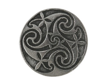 2 Mystical Spiral 3/4 inch ( 18 mm ) Celtic Design Pewter Buttons