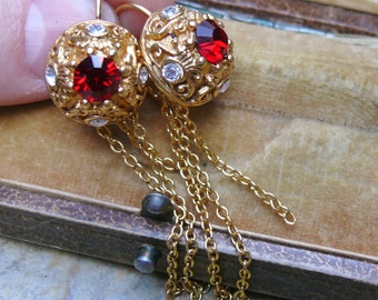 Red Rhinestone Earrings Gold Chain OOAK