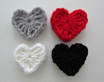 "1pc  2"" Crochet VALENTINE HEART Applique"