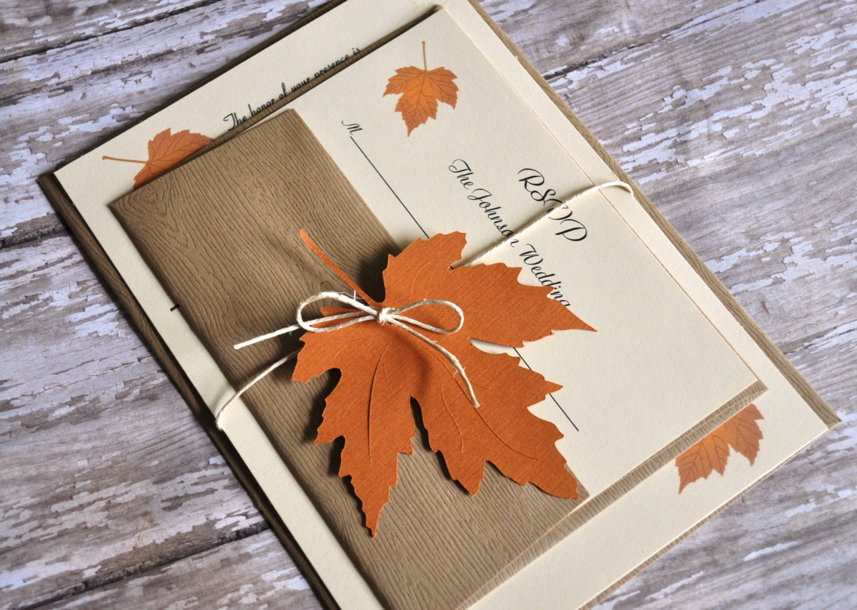 Autumn Wedding Invitation Set, Fall Wedding Invitation ... |Fall Leaves Wedding Invitations