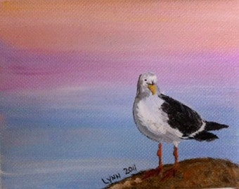 "4x5"" Seagull Oil Painting w/Easel Pink and Orange Sunset"