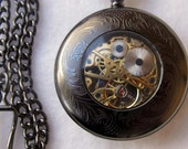 RESERVED Magnifying Glass Mechanical Gunmetal Pocket Watch, Pocket watch Jewelry, Gorgeous Black Pocket Watch