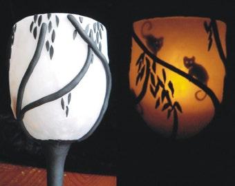 Possums Peeping - Secret Silhouette Tea Light Holder