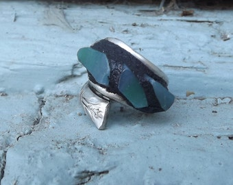 Mosaic Turquoise Stained Glass Above the Knuckle Art Ring