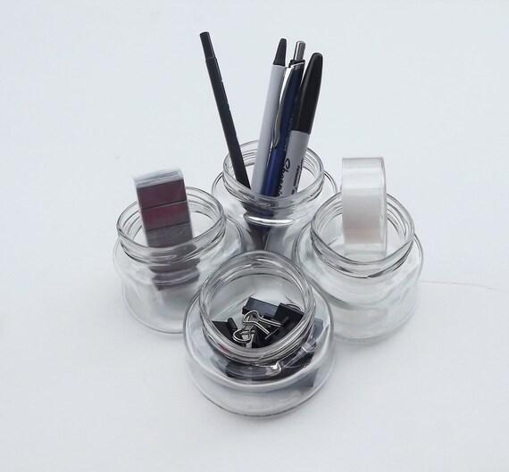 Glass jar desk organizer - Glass desk organizer ...
