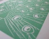 Mint Green Peacock Linocut Print, Unframed