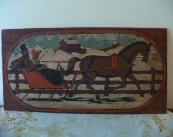 Hand painted sleigh ride on wood....well done