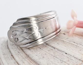 """Vintage Spoon Ring - """"Drexel"""" International Silver, 1929 - Silverware Ring - Spoon Jewelry - Spoon Ring - Antique Spoon Ring  (mcf  067)"""
