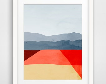 Mid Century Modern Art Print, Abstract Wall Art, Minimalist Poster, Office Decor, Abstract Landscape, Living Room Decor, Red Wall Art