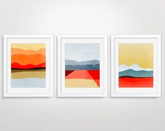 Mid Century Modern Art, Abstract Art Print, Modern Wall Art Set of 3 Prints, Abstract Landscape Art, Minimalist Art, Red Wall Art