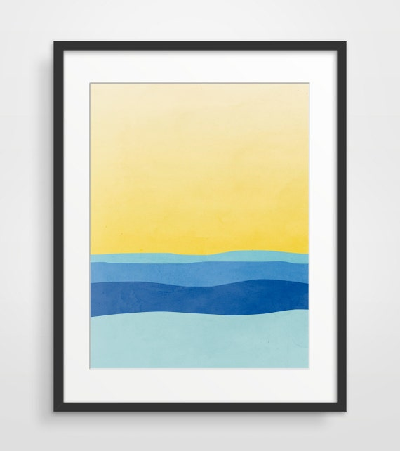 Beach Decor Wall Art Modern Abstract Art Print Minimalist
