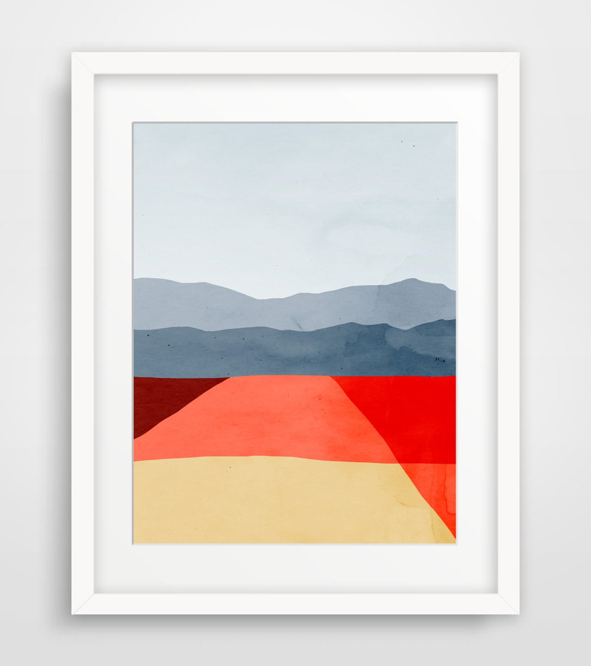Mid century modern art print red abstract wall art gift for for Minimalist wall decor