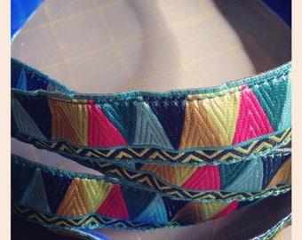 Blue/Pink/Gold Mosaic Amy Butler Ribbon, Velvet Lined, No Slip AllieBand, Headbands