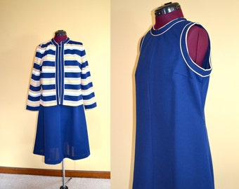 1970s Vintage Plus Size Lady Carol Dress and Matching Jacket Set size XL bust 40