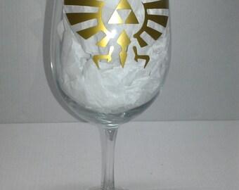 Legend of Zelda triforce wine glass